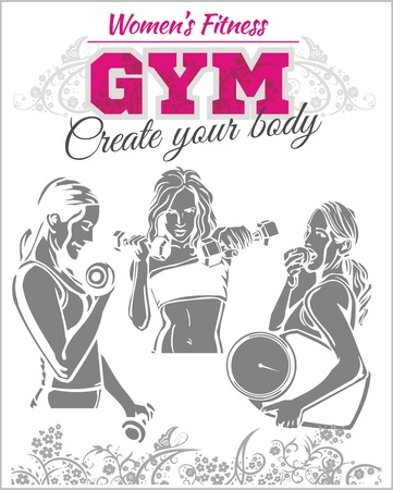 fit body: Womens GYM - Fitness club - vector illustration