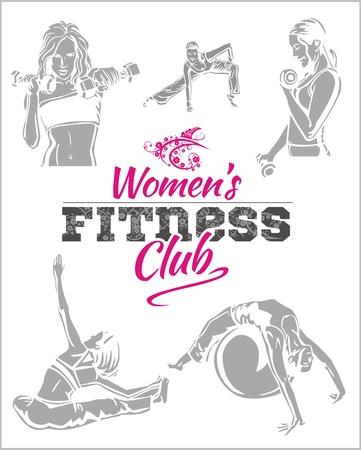 ejercicio aer�bico: Mujeres GYM - Gimnasio - ilustraci�n vectorial Vectores