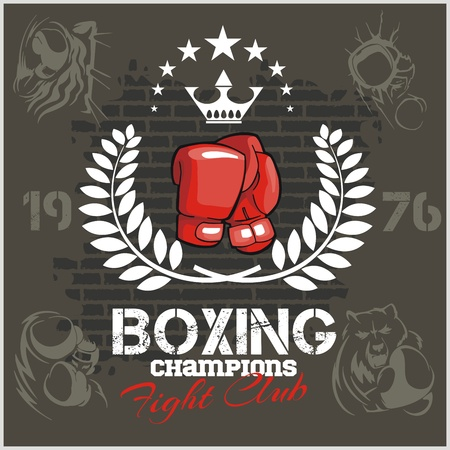 Boxing labels and banners set. Vector part set.