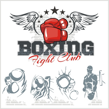 Boxing labels and banners set. Vector part set. Vector