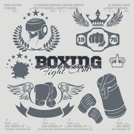 handschuhe: Boxing Etiketten und Banner gesetzt. Vektor-teiliges Set.