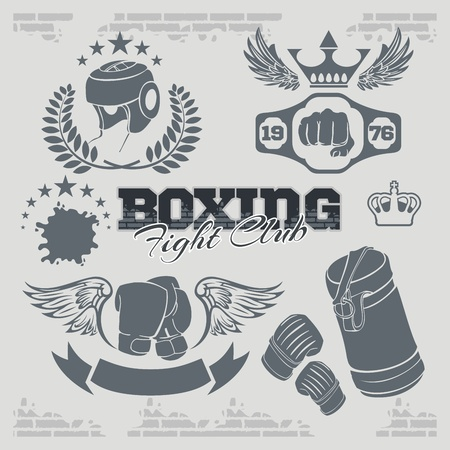 sport logo: Boxing labels and banners set. Vector part set.