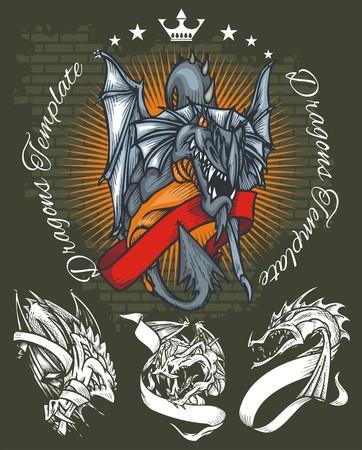 dragon tattoo design: Dragons and ribbons - color illustration. Vector stock. Illustration