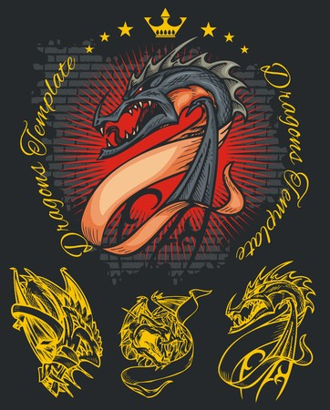 almighty: Dragons and ribbons - color illustration. Vector stock. Illustration