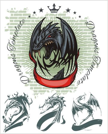 almighty: Dragon and red ribbon - color illustration. Vector stock.