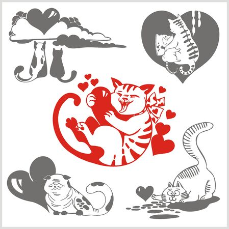 Valentines Day set - objects and elements. Vector illustration. Vector
