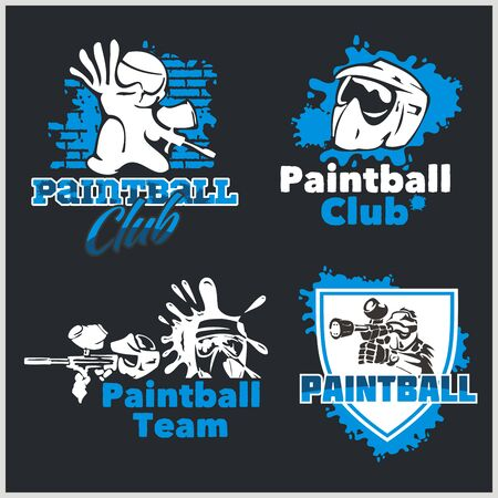 Paintball emblem and icon - vector set Vector