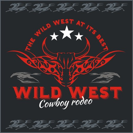 bucking bull: Wild west - cowboy rodeo, vintage vector artwork for boy wear.