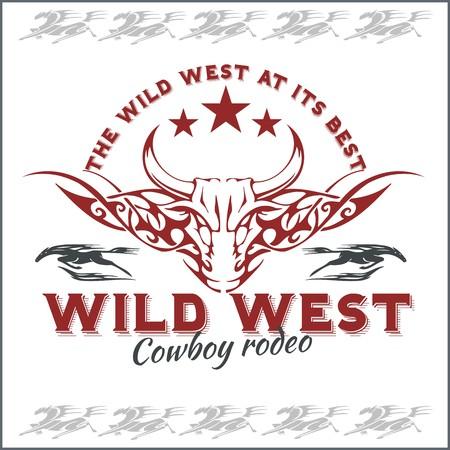 rodeo americano: Salvaje Oeste - rodeo del vaquero, ilustraciones vectoriales vendimia para el desgaste chico.
