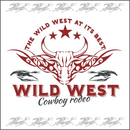 old west: Wild west - cowboy rodeo, vintage vector artwork for boy wear.