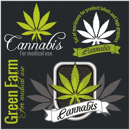cannabis leaf: Marijuana - cannabis. For medical use. Vector set. Illustration