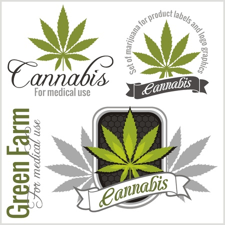 medical emblem: Marijuana - cannabis. For medical use. Vector set. Illustration