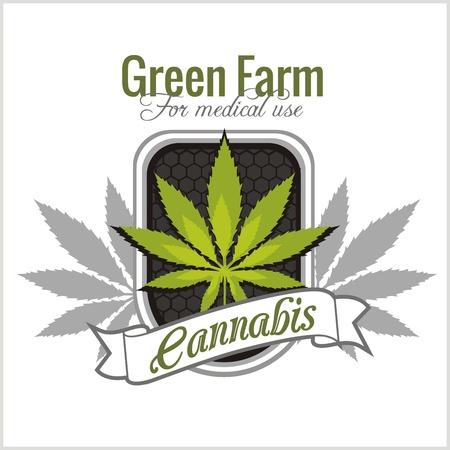 Marihuana - cannabis. Voor medisch gebruik. Vector set.