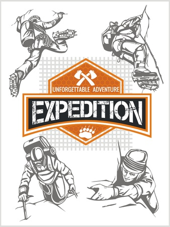 mountaineering: Rock climbing expedition. Vector set - expeditions emblem and climbers.