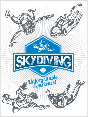 skydiving: Skydiving. Vector set - emblem and skydivers.