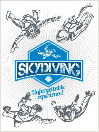 skydive: Skydiving. Vector set - emblem and skydivers.