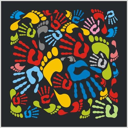 handprints: Mixed colour handprints and footprints - vector illustration. Illustration