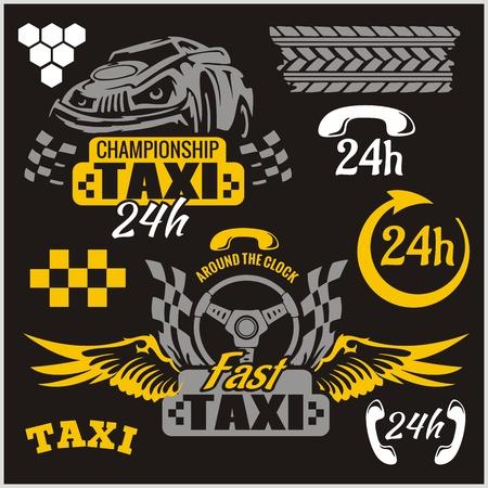 fare: Taxi symbols, and elements for taxi emblem - vector set.