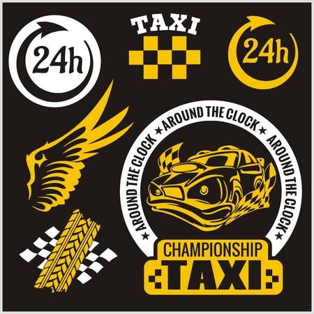 Taxi symbols, and elements for taxi emblem - vector set. Vector