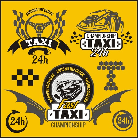 Taxi symbols, and elements for taxi emblem - vector set. Vector