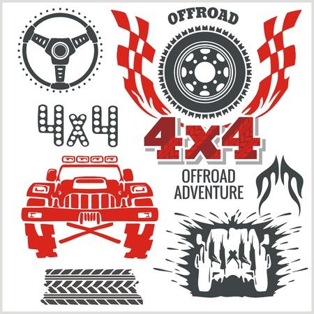 offroad: Off-road elements and emblem - vector set