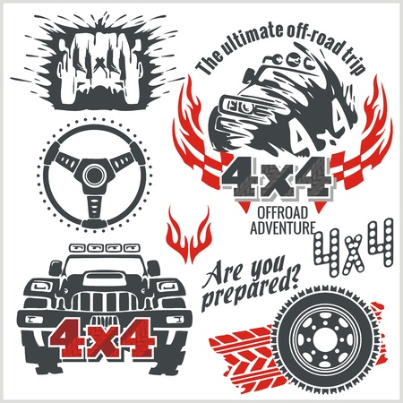 off on: Off-road elements and emblem - vector set