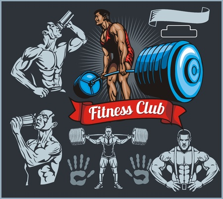 hunk: Bodybuilder with a barbell - vector set