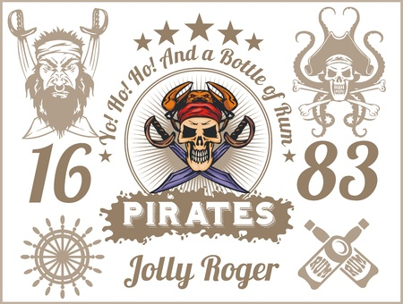 roger: Jolly Roger - Pirate design elements. Vector set.