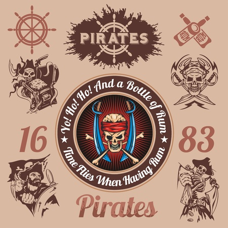 Pirate themed design elements - vector set. Vector