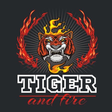 tiger head: Tiger head hand and fire - vector illustration