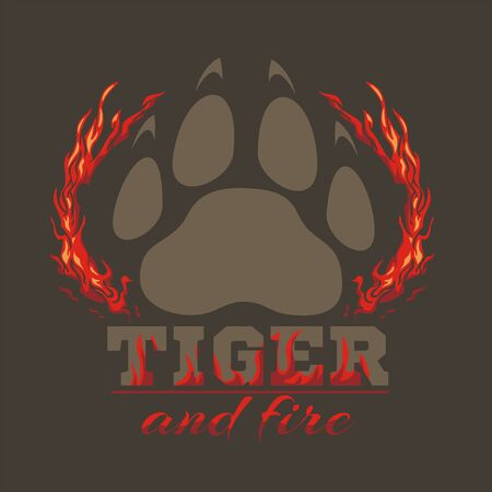bengal fire: Tiger footprint and fire on dark background