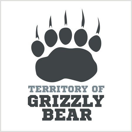 territorial: footprint grizzly bear - vector illustration