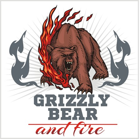 grizzly bear and fire, emblem elements - vector illustration Illustration