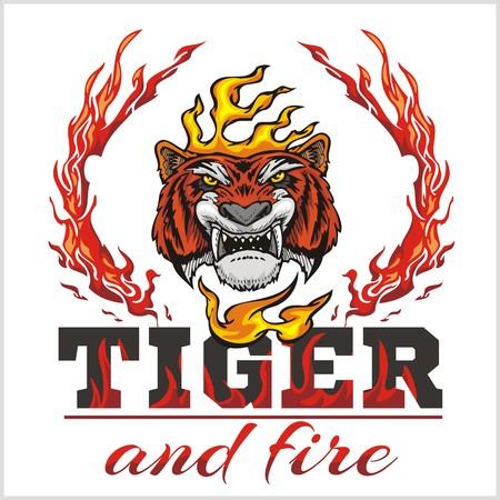 tiger head: Tiger head hand and fire - vector illustration
