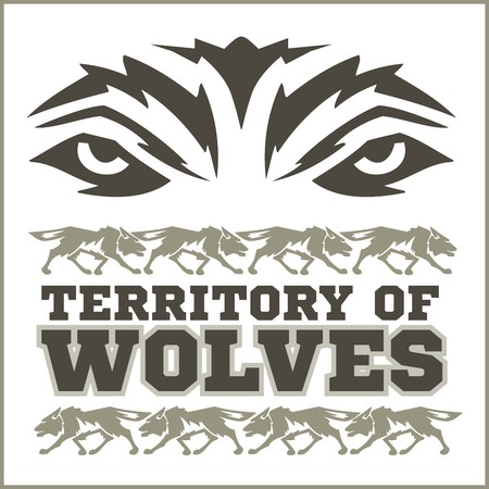 inscriptions: Retro ornament - running wolves and inscriptions.
