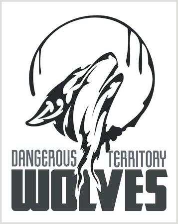 dangerous: Howling Wolf emblem -  dangerous territory. Illustration