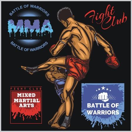 混合: MMA ラベル - ベクトル総合格闘技デザインです。