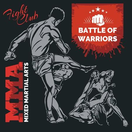 MMA Labels -  Vector Mixed Martial Arts Design. Illustration