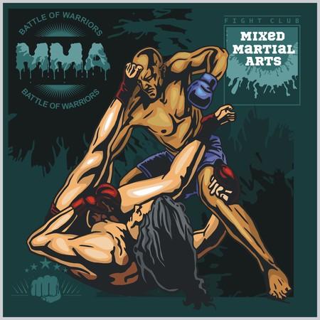 mixed martial arts: Etiquetas MMA - Vector Artes Marciales Mixtas Dise�o.
