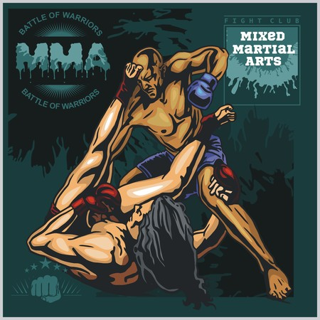mma: MMA Labels -  Vector Mixed Martial Arts Design. Illustration