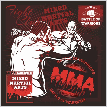 kickboxing: MMA Labels -  Vector Mixed Martial Arts Design. Illustration