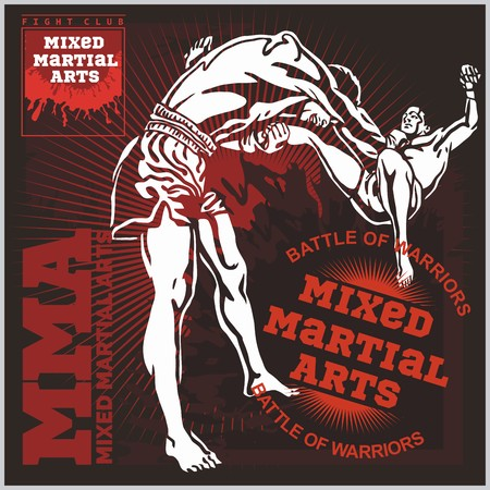male boxer: MMA Labels -  Vector Mixed Martial Arts Design. Illustration