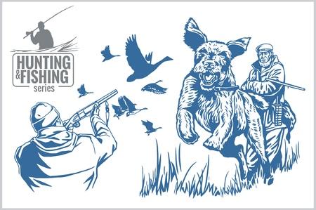 lit collection: Hunting and fishing vintage emblem - vector set