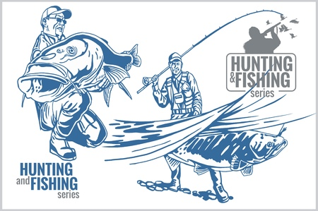 Hunting and fishing vintage emblem - vector set
