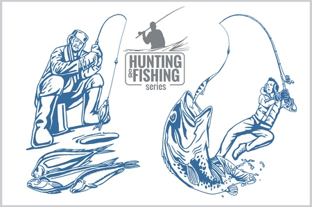rod sign: Hunting and fishing vintage emblem - vector set