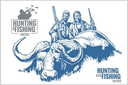 dead duck: Hunting and fishing vintage emblem - vector set
