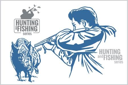 Hunter schieten op wilde zwijnen - uitstekende illustratie Stock Illustratie