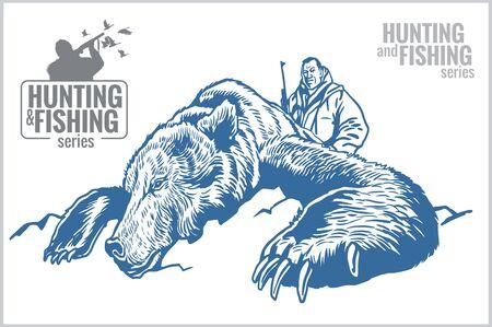 Hunter killed bear - old vintage illustration Vector