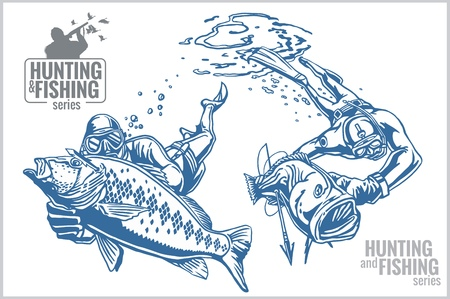 free diver: Underwater hunters and fishes - vintage illustration
