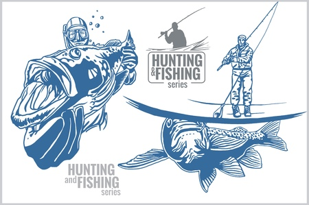 Underwater hunter and fisherman - vintage two color illustration